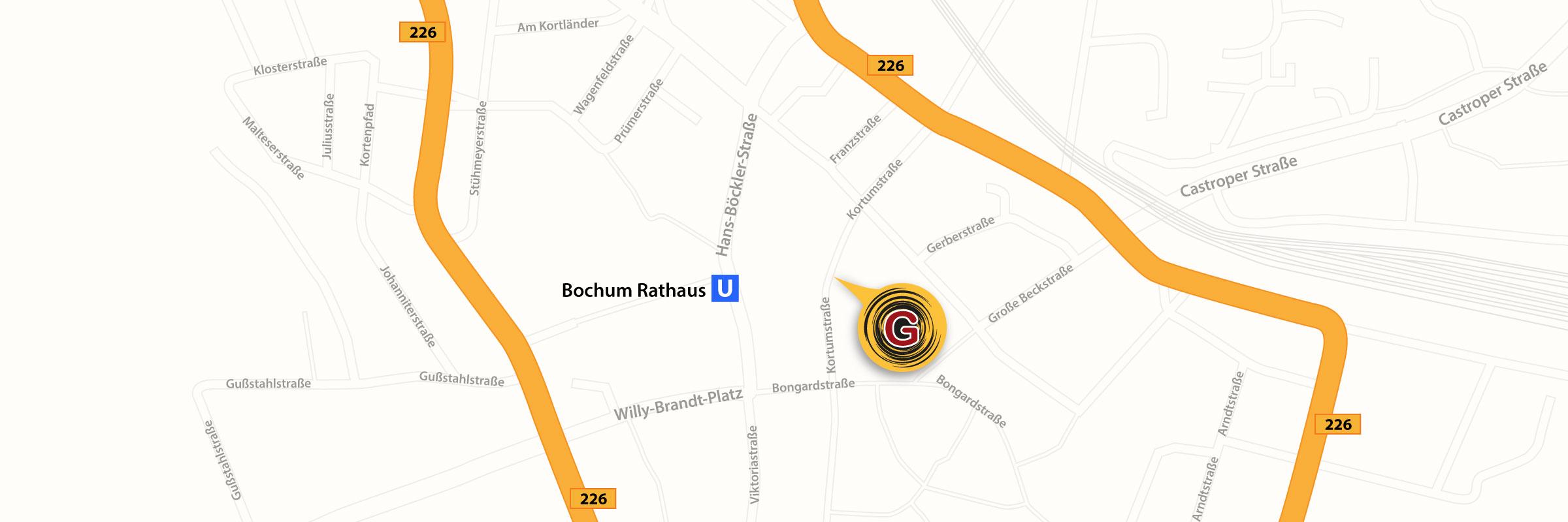 Lagebeschreibung vom Beratungsnetzwerk Grenzgänger, Stadtplan Innenstadt Bochum